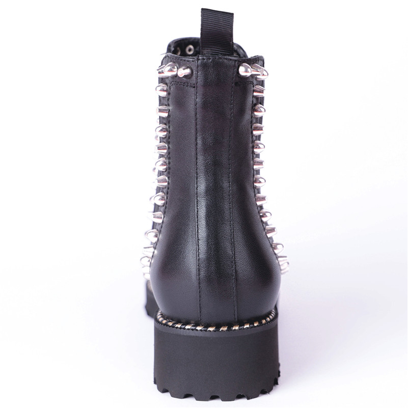 Noir Moto Automne De Conasco Hiver Bottes Hauts Mode Femme Base Rivets En Cuir Véritable Sexy Talons Martin Chaussures Femmes gyf6Yb7