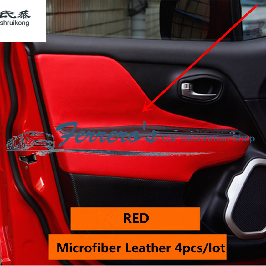 4pcs/lot for 2015 2016 2017 JEEP Renegade Microfiber Leather Car Accessories car stickers inside door armrest protection cover