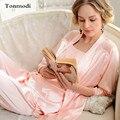Ropa de Noche atractiva de Las Mujeres de Moda de Alta Calidad de Seda Pijama Conjunto de Salón de Seda de Las Mujeres Pijamas de Verano 3 Unid/set