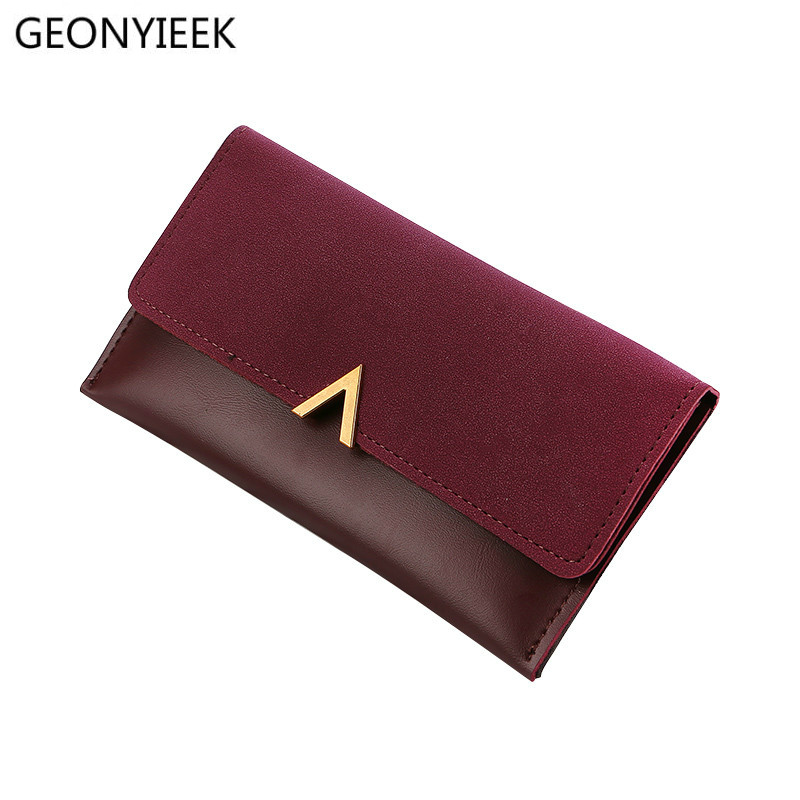2019 Leather Women Wallets Hasp Lady Moneybags Zipper Coin Purse Woman Envelope Wallet Money Cards ID Holder Bags Purses Pocket(China)