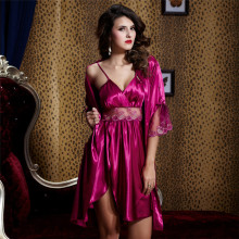 Xifenni Robe Sets Female Satin Silk Sleepwear Women Sexy Lace Embroidery Bathrobes Two Piece Faux Silk Sleeping Dress 20242