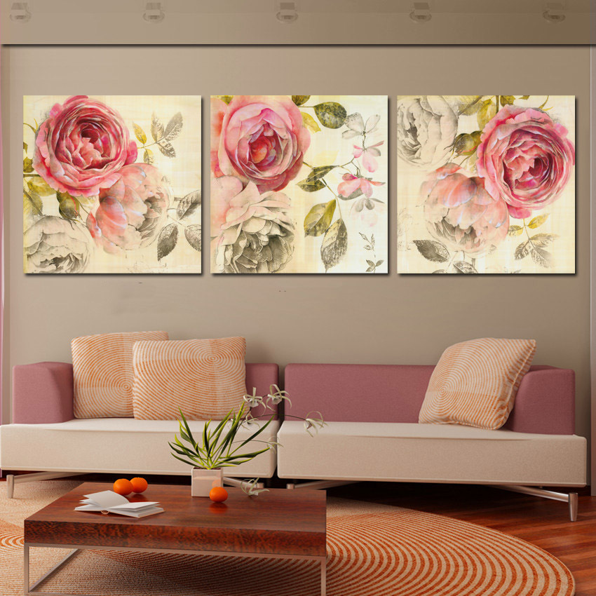 3 Piece Wall Art Abstract Painting Pink Rose Flower Canvas