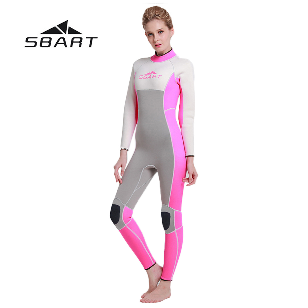 SBART 3mm Neoprene Women Scuba Diving Wetsuit One Pieces Suit Kite Surfing Snorkeling Swimwear Spearfishing Full Body Jumpsuit white lace details off shoulder bell sleeves crop top
