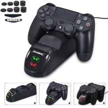цена на PS4 Controller Dual USB LED Power Supply Charger Base Docking Station Stand for PS4 PS 4/ PS4 Slim / PS4 Pro Game Charging Grips