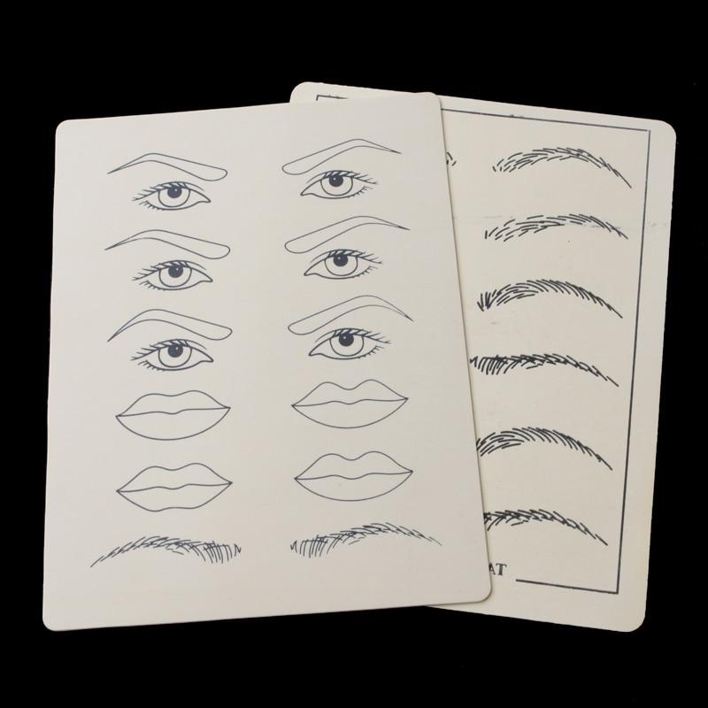2 feuilles maquillage permanent lèvres de sourcil pratique de la formation de peau de tatouage réglé pour les débutants nouvel accessoire de tatouage accessoire de tatoo