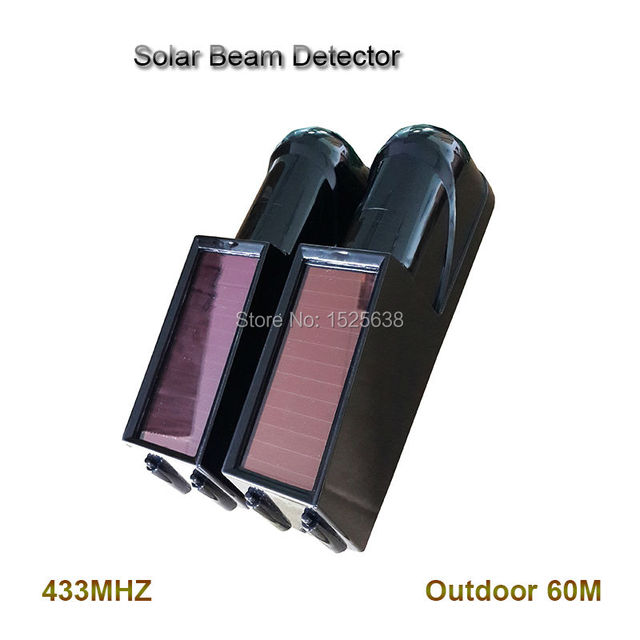 auto driveway alarm Wireless Dual Photoelectric Beam Detector Solar Power Outdoor 60m with rechargeable battery