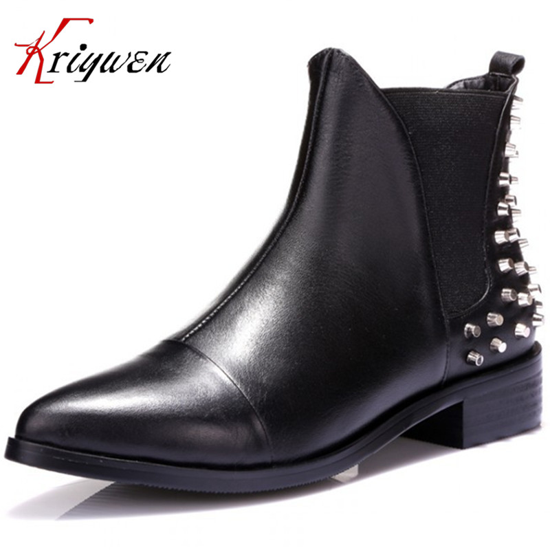ФОТО 2015 new arrival  women shoes soft leather genuine leather ankle boots autumn and winter boots for women rivets motorcycle boots