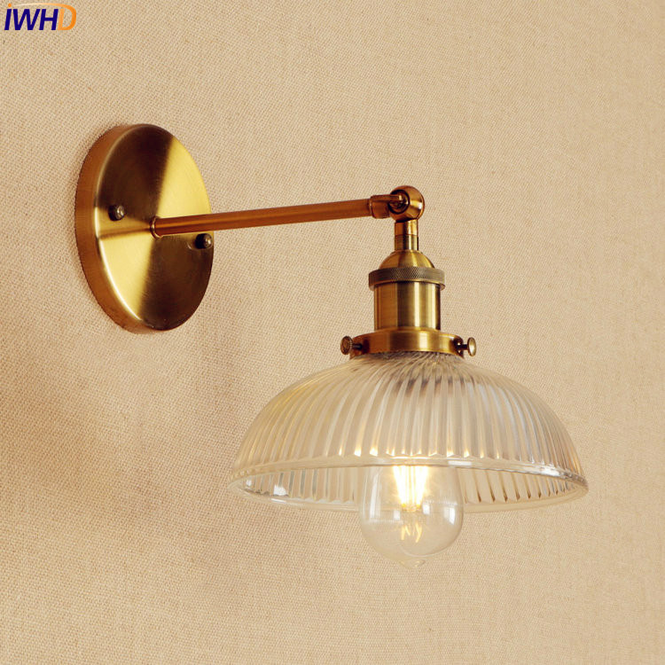 Retro Loft Style LED Wall Light Fixtures Stair Lighting Gold Glass American Vintage Long Arm Wall