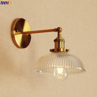Retro Loft Style LED Wall Light Fixtures Stair Lighting Gold Glass American Vintage Long Arm Wall Lamp Sconces Lampara Pared
