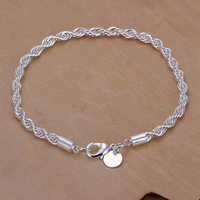 Bluelans Elegant Silver Plated Twisted Rope Design Slim Bracelet Chain for Office Lady