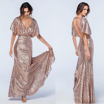 Rose Gold Sequins Mermaid Prom Gowns Deep V Neck Short Sleeves Backless Evening Gowns Formal Dress Long Wedding Guest Dress