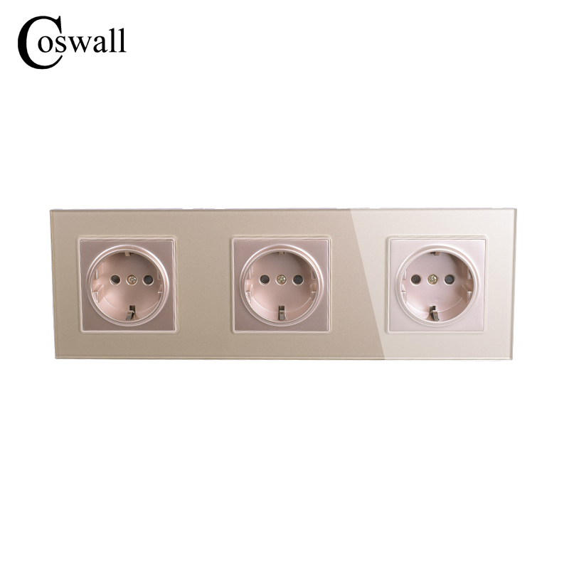 COSWALL Wall Crystal Glass Panel 3 Way Power Socket Grounded 16A EU Standard Gold Electrical Triple Outlet 258mm * 86mm coswall high quality wall power 5 way socket plug grounded 16a eu standard electrical quintuple outlet 430 mm 86 mm