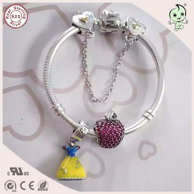 Beautiful Girl Baby Silver Jewelry Gift  925 Silver Snake Bracelet With Silver Dress And Apple Charm For  Baby
