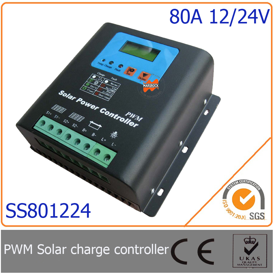 80A 12V/24V PWM Solar Charge Controller with LED&LCD Display, Auto-Identification Voltage, MCU design with excellent performance шуруповерты bort дрель шуруповерт аккумуляторная bort bab 18ux2 dk