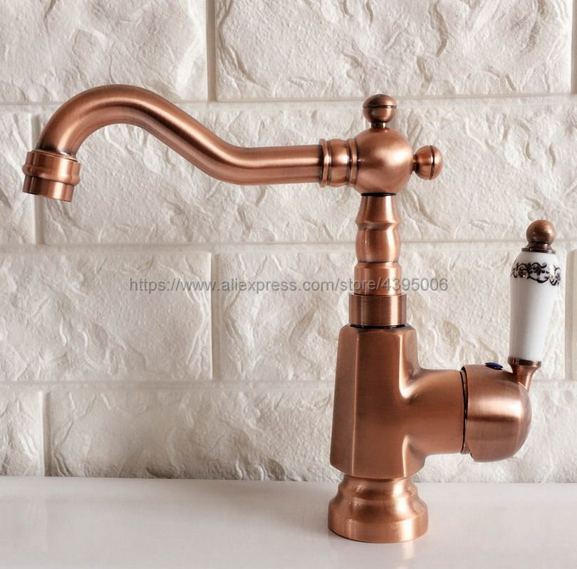 Antique Red Copper Bathroom Basin Sink Faucet Single Handle Single Hole Mixer Tap Deck Mounted Bnf398 in Basin Faucets from Home Improvement