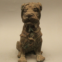 wholesale factory 8″ Lovely China Chinese Pure Bronze Famous Pet Shar Pei Pug Dog Statue