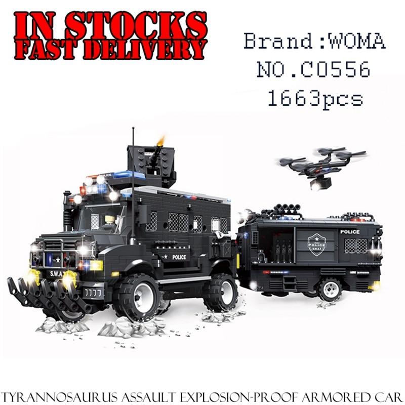 цена на WOMA C0556 SWAT Clan Assault Riot Armored Vehicles 1663PCS Building Blocks Bricks enlighten toys for children gifts brinquedos