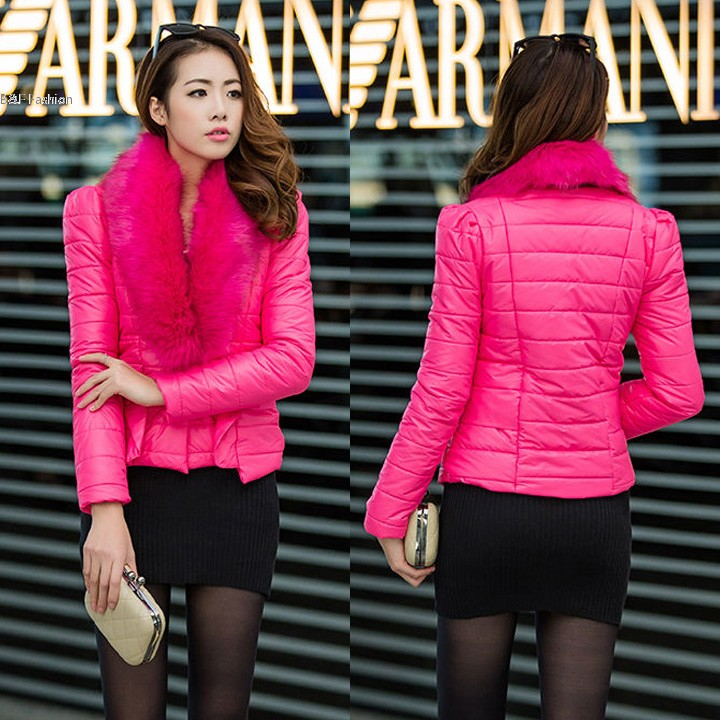 Women s Winter Thicken Warm Fur Collar Button jacket Short Cotton padded Outwear