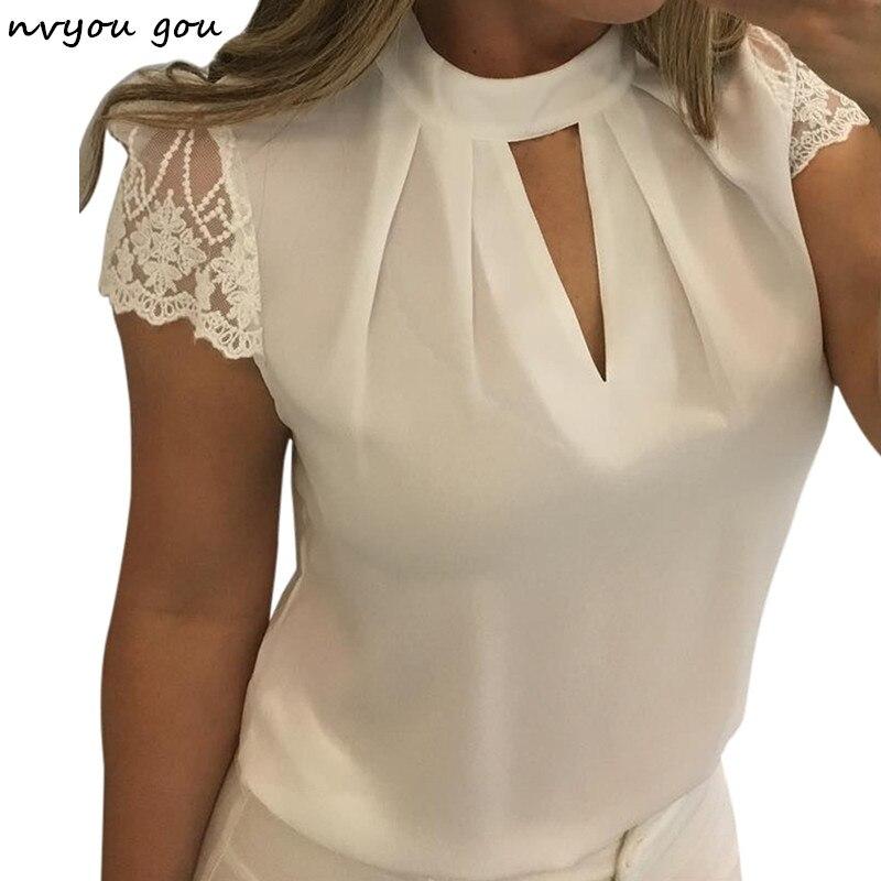 Nvyou gou Frauen Sexy Hohl Chiffon-Bluse Solide Stehen Frauen Casual Kurzarm Splice Spitze blusas mujer de moda 2018 plus Größe