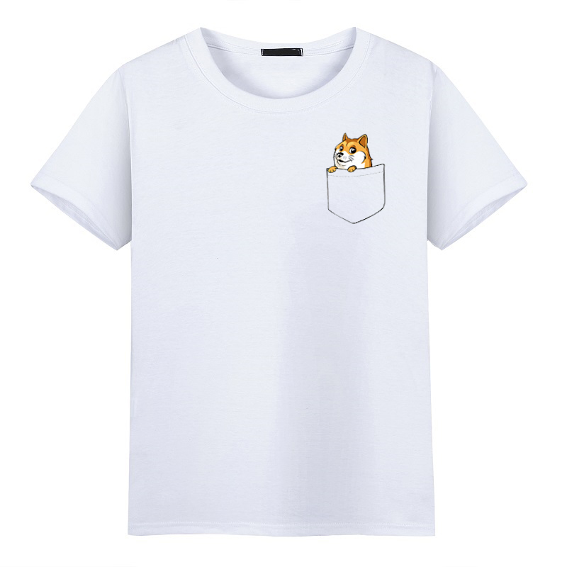 2017 Fashion Pocket Funny Joke t shirt Doge Tee shirt Homme De Marque O-Neck Printing Pattern Short Sleeve T-shirts