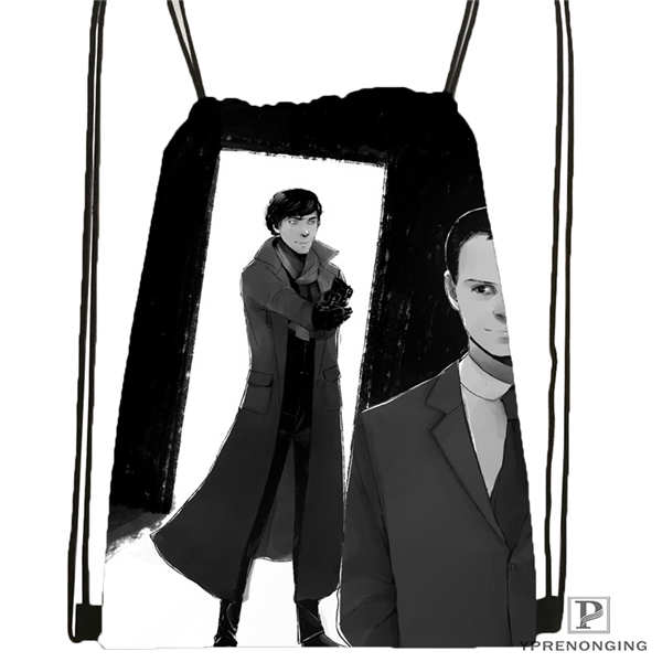 Custom Sherlock-The-Abominable-@01-Drawstring Backpack Bag Cute Daypack Kids Satchel (Black Back) 31x40cm#180611-03-109