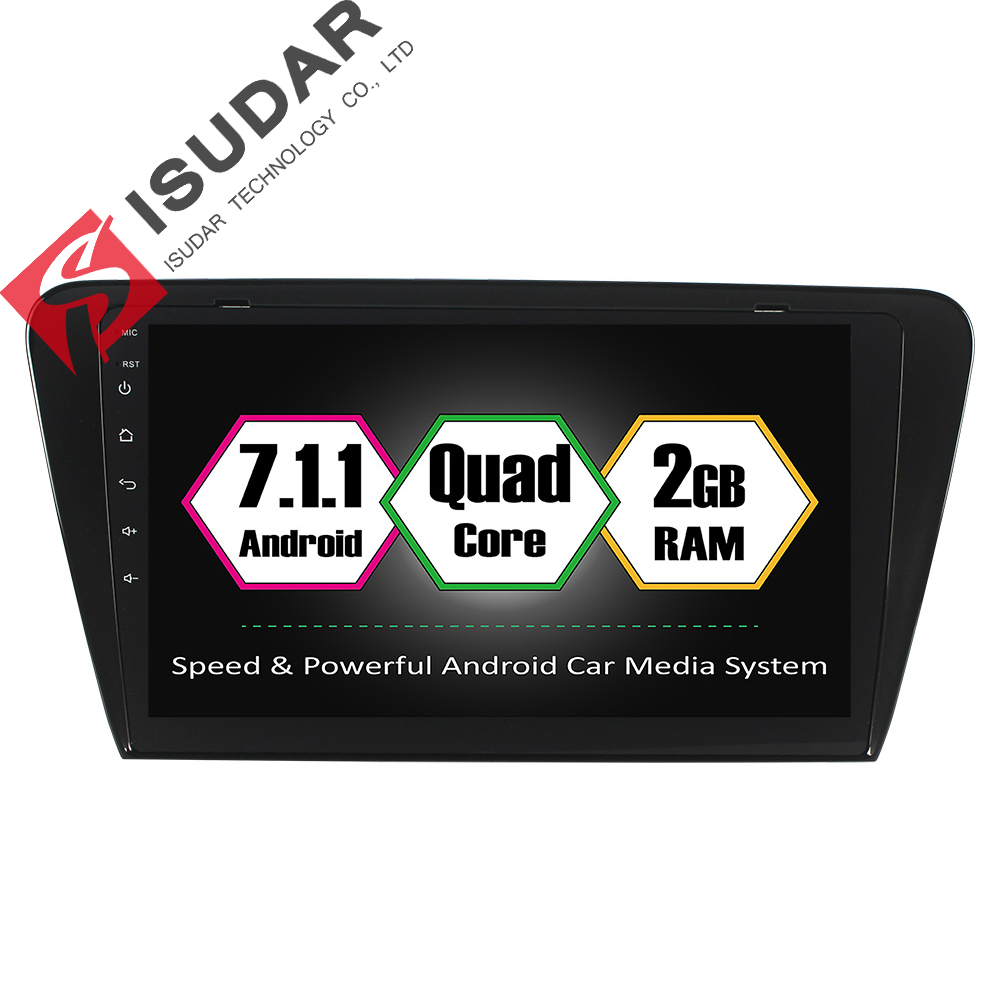 Isudar Car Multimedia Player GPS Android 7.1.1 1 Din DVD Automotivo For Skoda/octavia 2014- RAM 2GB ROM 16GB Quad Core Radio isudar car multimedia player automotivo gps autoradio 2 din for skoda octavia fabia rapid yeti superb vw seat car dvd player