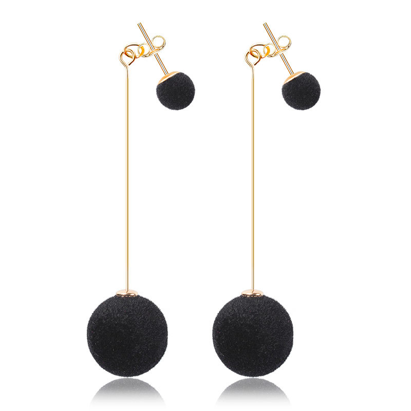 Fashion 2019 New Simple Plush Ball Drop Earrings For Women Korea Personality Round Long Tassel Earrings Statement Jewelry Gift