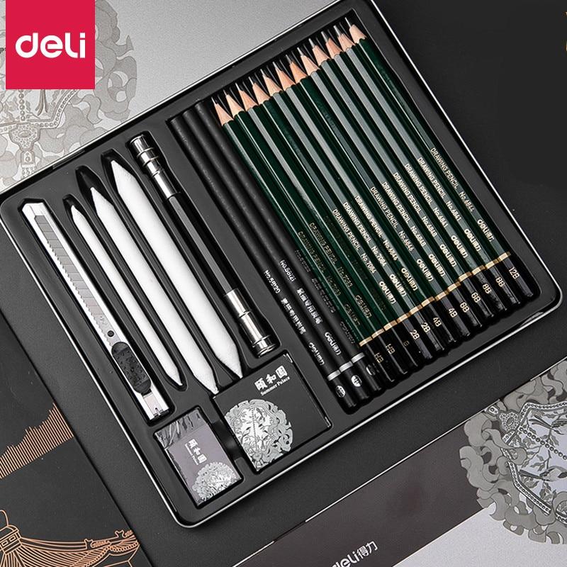 DELI Professional Sketch Pencils Set Sketching Art Set Charcoal Pencils Art Painting Drawing Pencil Professional Art Supplies