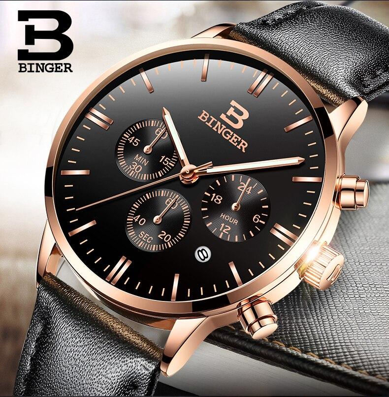 Prix pour Mens Montres Haut Marque De Luxe BINGER Hommes Militaire Sport Lumineux Montre-Bracelet Chronographe En Cuir Quartz Montre relogio masculino
