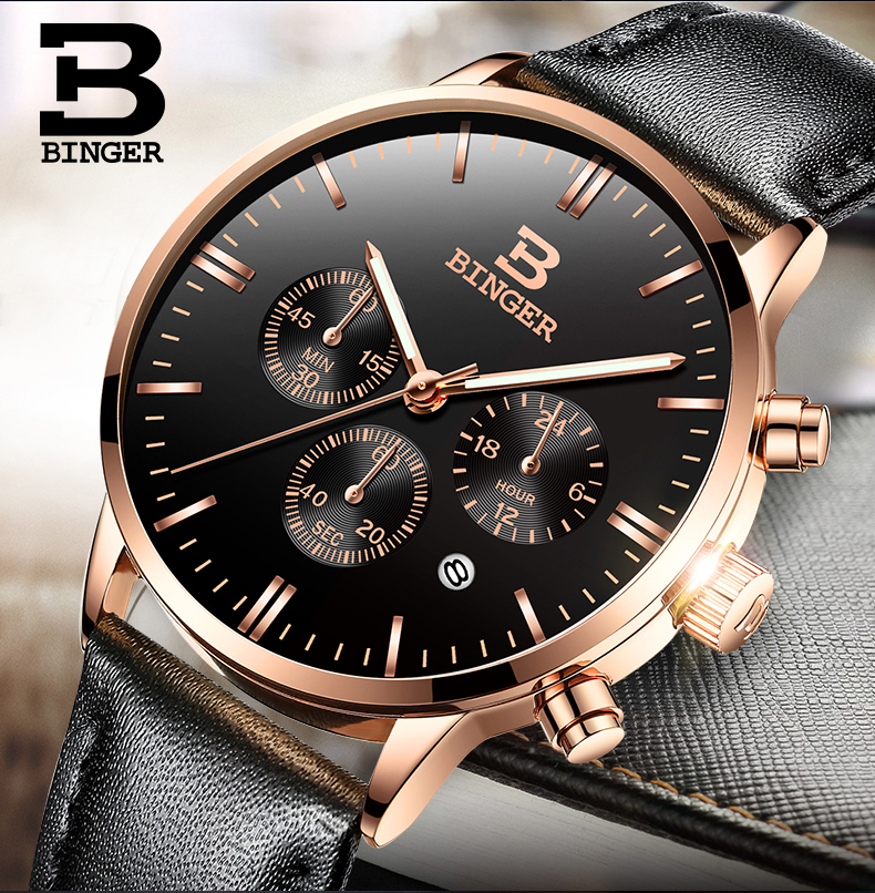 Mens Watches Top Brand Luxury BINGER Men Military Sport Luminous Wristwatch Chronograph Leather Quartz Watch relogio masculino relogio masculino mens watches top brand luxury senors men military sport luminous wristwatch chronograph leather quartz watch
