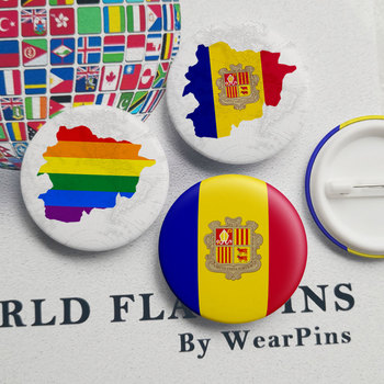 Andorra Flag Map Tin Button Pins LGBT Gay Rainbow Pride Tin Button Badges image