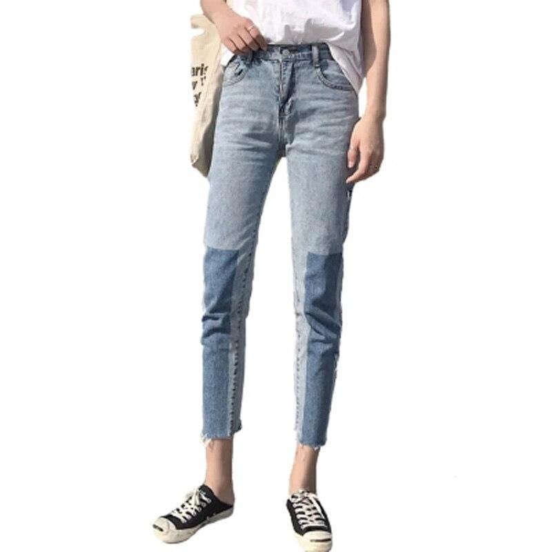 Panneaux Déchiré Côté Coréen Femmes Harem Jeans D'été Vintage Strench Dames Jeans Broeken Harajuku Denim hip hop Calca Pantalon