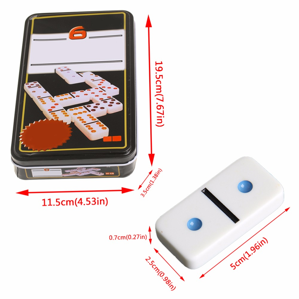Iron Domino Box Toy Game Set/28Pcs Travel Dominoes Ideal for Children Kids