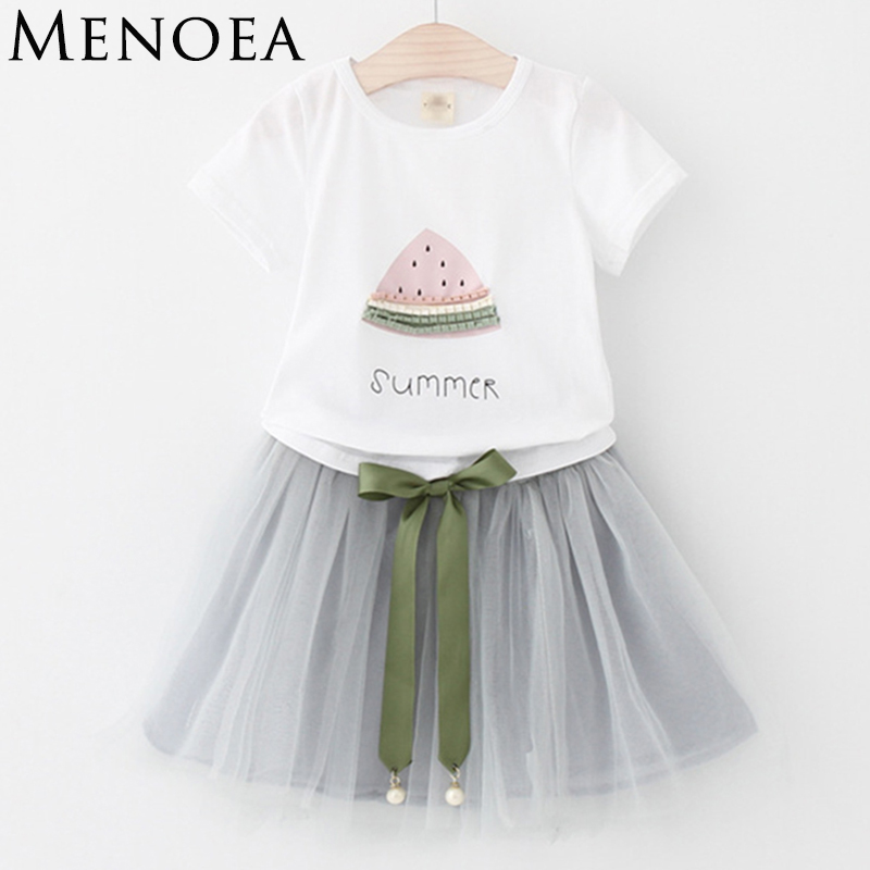 Children Clothes Suits New Summer Brand Hot Sale Style Kids Short-Sleeve T-shirt and Mesh Dress For Girls Clothing Sets