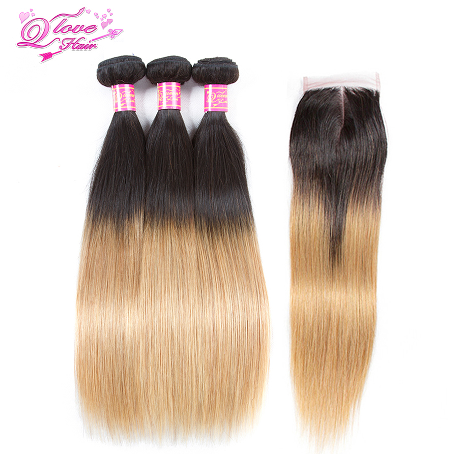 Queen Love Hair Brazilian Straight Hair Bundles With Closure Pre-Coloed 1B/27 Human Hair Bundles With Closure Can Be Dye
