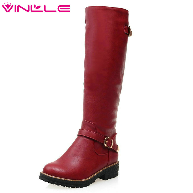 VINLLE 2018 Women Boots Winter Shoes Round toe Fashion Knee-high Boots PU Leather All-match Med-heel Black Grey Red Ladies Shoes basic 2018 women thick heel ankle boots black pu fleeces round toe work shoe red heel winter spring lady super high heel boots
