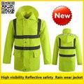 Высокая видимость водонепроницаемый флуоресцентный желтый дождь носить светоотражающие безопасности дождь куртка дождь куртка бесплатная доставка