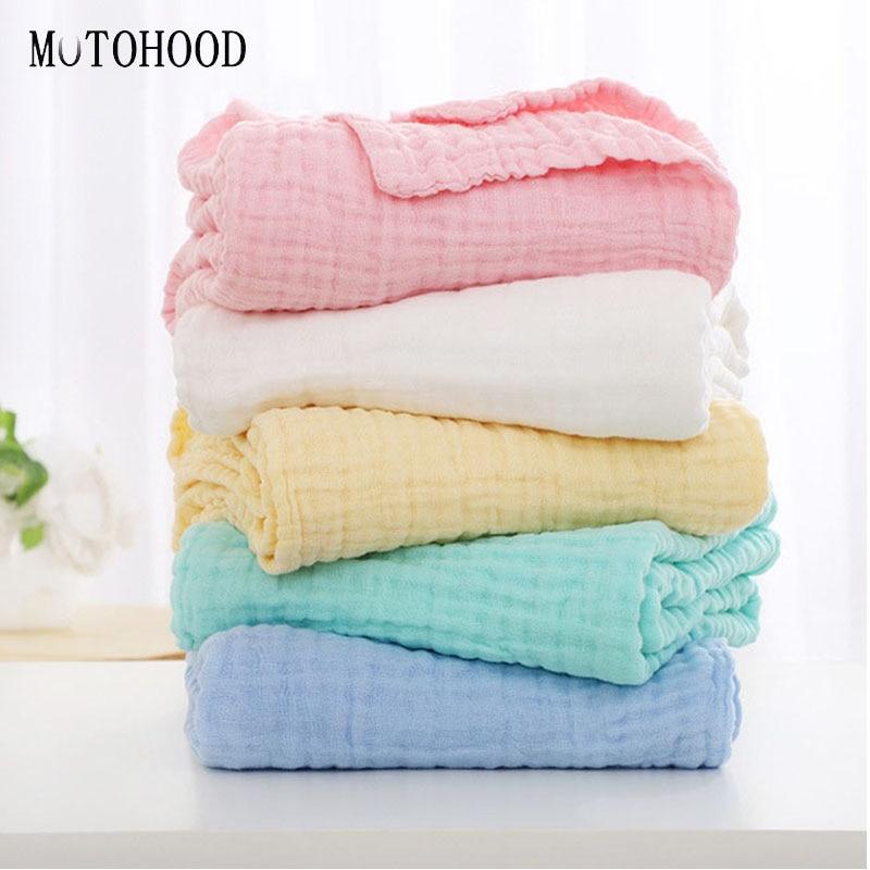 MOTOHOOD 100% Cotton Baby Blankets Newborn Super Soft Children Swaddle Wrap Thickening Bamboo Blanket For Kids Girls 110*110cm