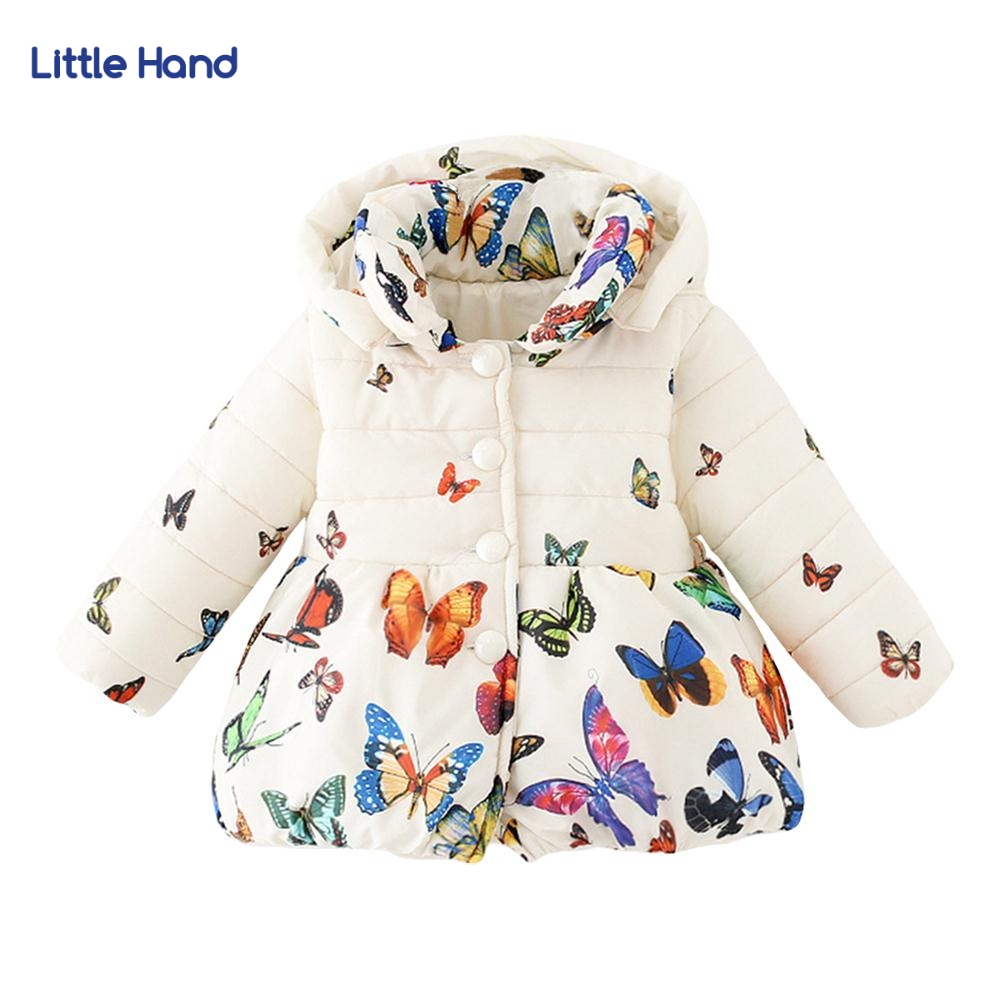 Baby Girls Butterfly Print Hooded Jacket&Coat 2017 Winter Thick Warm Children Girls Clothes Toddle Outerwear Parka 0-4T Bow Tie