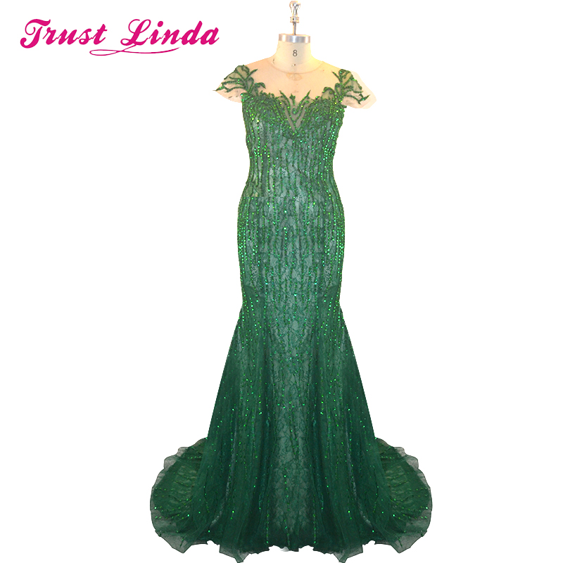 Sexy Emerald Green Prom Dresses With Cap Sleeves Beaded