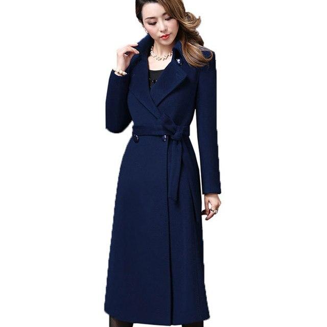 5XL Plus size Autumn Winter Wool Coat Womens Cashmere Woolen Coats 2018 New top quality Outerwear manteau Long femme hiver Z371