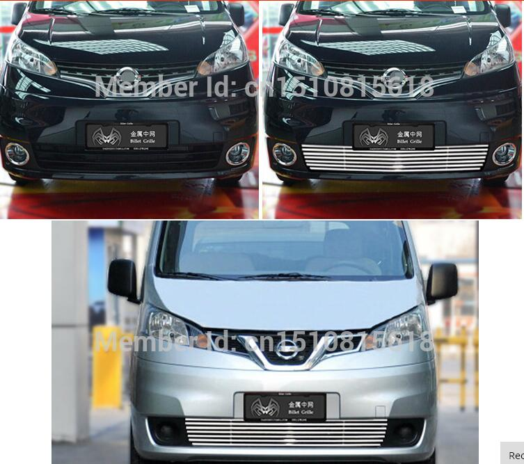 Car front bumper Mesh Grille Around Trim Racing Grills 2010-2014 for Nissan NV200 Quality Stainless steel abs chrome front grille around trim racing grills trim for 2013 hyundai santa fe ix45