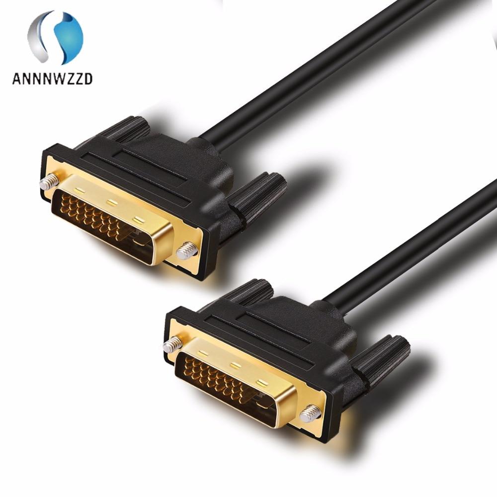 DVI-D 24 + 1 С двумя звеньями мужской и мужской цифровой видео кабель позолоченный с поддержкой 2560x1600 для игр, DVD, ноутбуков