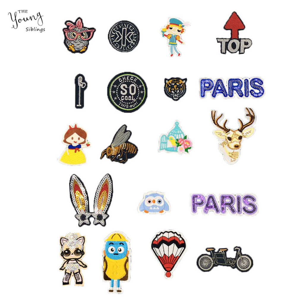 DIY Cartoon Animal Embroidery Patches For Clothing Iron Badges Children Gifts US