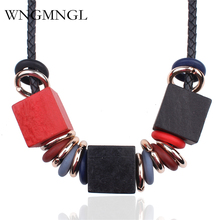 WNGMNGL New Woman 2018 Sweater Necklaces Geometric Wood Beads Black Rope Chokers Necklace For Women Charm Fashion Jewelry Gift