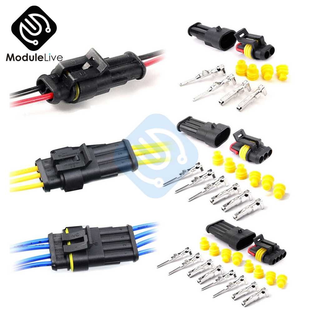 1 Kit 4Pins Way Sealed Waterproof Electrical Wire Connector Plug Terminals