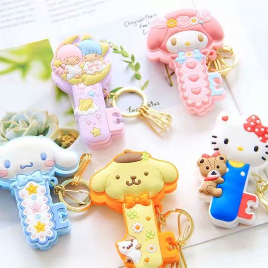Sanrio Hello Kitty My Melody Cinnamoroll Little Twin Star Pom Pom Purin Cartoon Cute Keychain Bag Pendant Clip For Girls Gifts