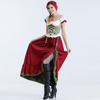 Fantasia Oktoberfest Beer Girl Fancy Dress for Adult Short Sleeve Long Dress Fashion Beer Maid Cosplay Costume Plus Size S XL