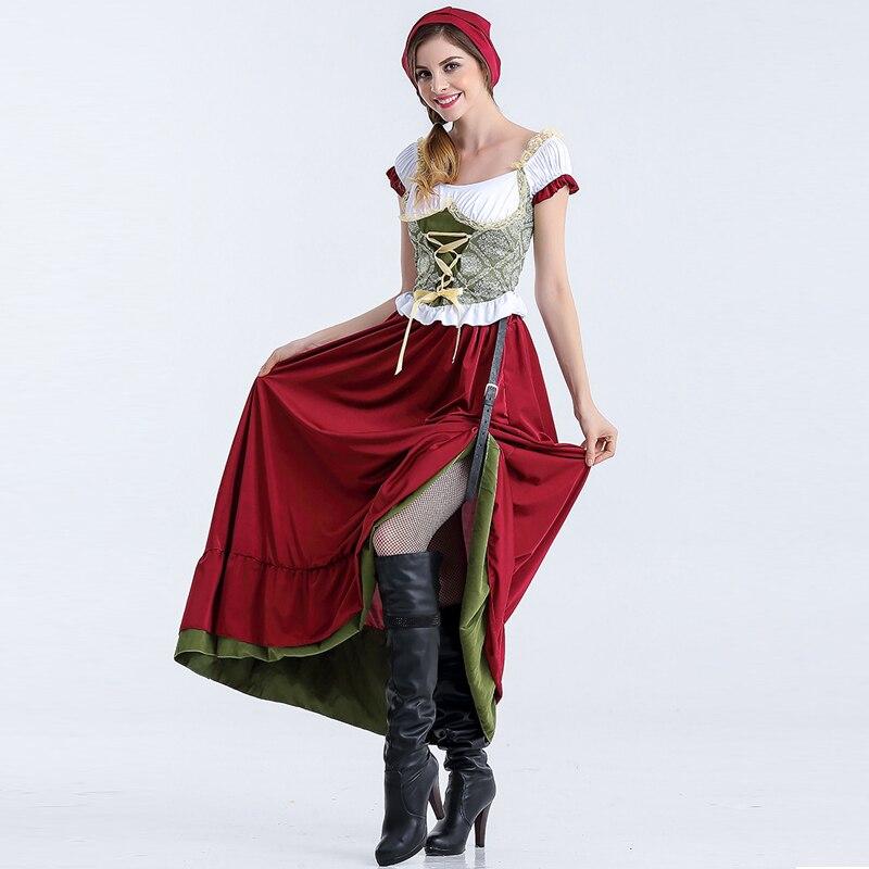 Fantasia Oktoberfest Beer Girl Fancy Dress for Adult Short Sleeve Long Dress Fashion Beer Maid font