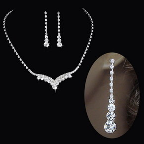 Fashion Silver Tone Crystal Tennis Choker Necklace Set Earrings Factory Price Wedding Bridal Bridesmaid African Jewelry Sets 17